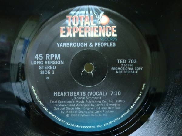 画像1: YARBROUGH&PEOPLES/HEARTBEATS/'82年/12inch (1)